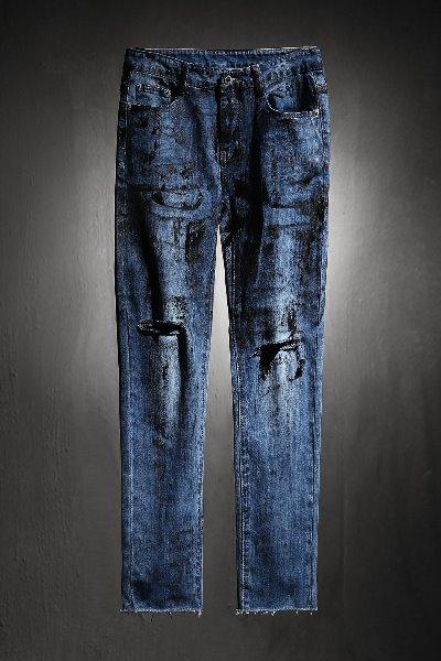 ByTheRByTheR Custom Rough Painting Cut Knife Denim Jeans