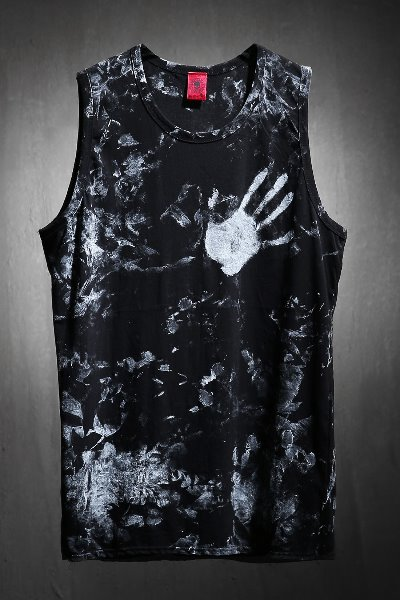 ByTheRByTheR Custom Rough Hand Painting Long Layered Sleeveless Black