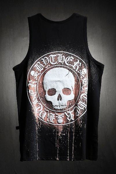 ByTheRByTheR Custom Dripping Bleach Skull Logo Embossing Sash Black