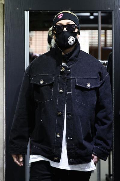 ByTheRCorduroy Stitch Trucker Jacket Black