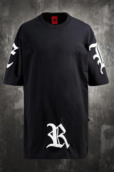 ByTheRByTheR Big Lettering Logo Print Short Sleeve Tee Black