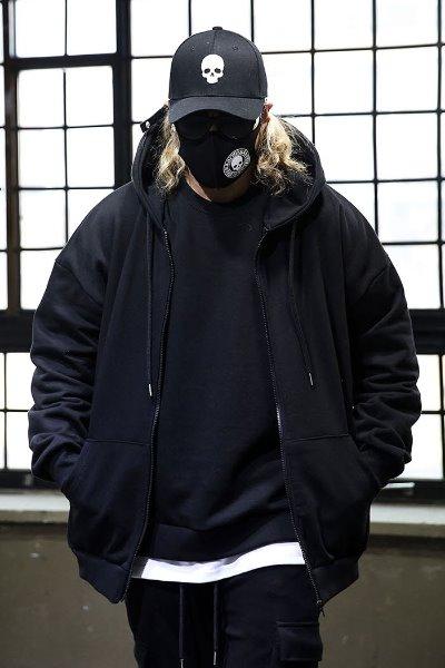 ByTheRSide slit oversized hood zip-up