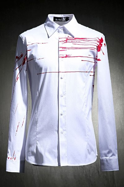 ByTheRByTheR Custom Red Flow Painting Slim Fit Shirt