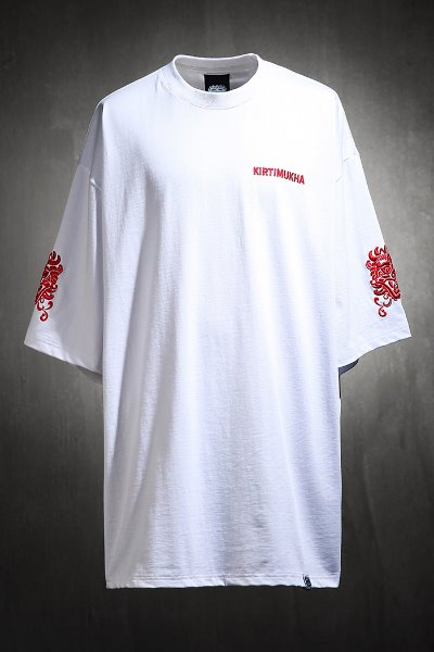 ByTheRMukha Sleeve Red Embroidered Short Sleeve Tee