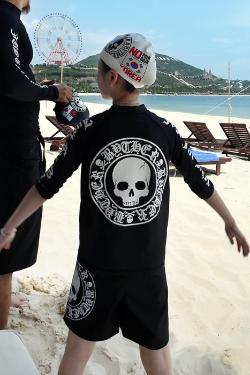 ByTheRByTheR骷髏標兒童黑色衝浪潛水服