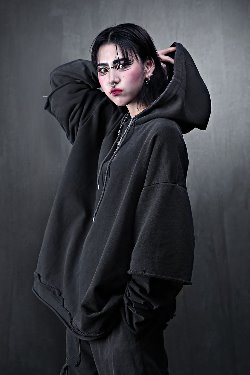 ByTheRPigment Cut Layered Hoodie