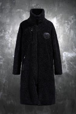 ByTheRByTheR標語刺繡拉鏈長款雙面羊毛大衣