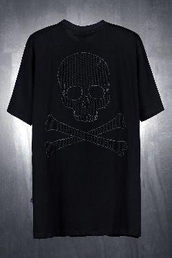 ByTheRByTheR黑色網骷髏寬鬆T恤