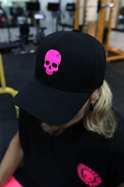 ByTheRByTheR Skull Embroidery Ball Cap Pink