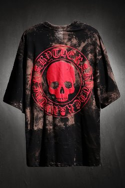 ByTheRByTheR Custom Rough Bleach Skull Logo Embossed Loose Fit Short Sleeve Tee Red