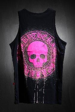 ByTheRByTheR Custom Dripping Bleach Skull Logo Embossing Sash Pink