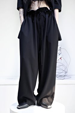 ByTheRString Belt Shirring Heavy Wide Pants