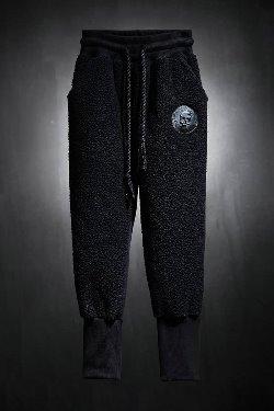 ByTheRByTheR Skull Logo Patch Fleece Jogger Pants