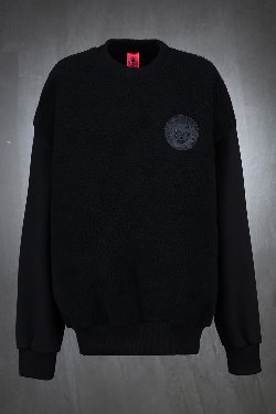 ByTheRByTheR Front Fleece Patch Black Sweatshirt