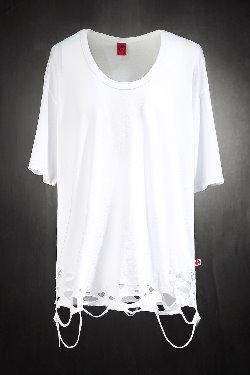 ByTheRByTheR Custom Damage Vintage U-neck Short Sleeve T-shirt