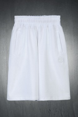 ByTheRByTheR Skull Embroidered Cotton Loose Fit Shorts White