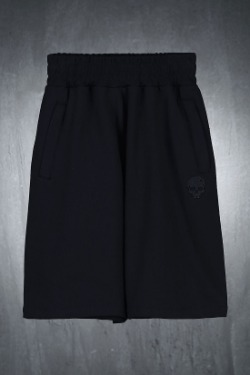 ByTheRByTheR Skull Embroidered Cotton Loose Fit Shorts Black