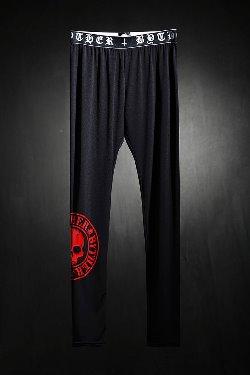 ByTheRByTheR red skull logo print leggings