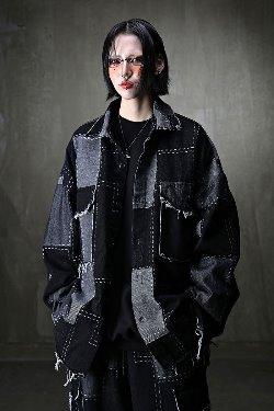 ByTheRCut patchwork loose fit shirt jacket