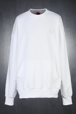 ByTheRByTheR Skull Embroidery Loose Fit Sweatshirt White