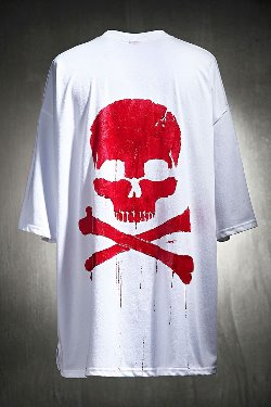 ByTheRByTheR Custom Red Skull Painting Loose Fit T-shirt