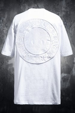 ByTheRByTheR Skull Logo Embroidered Patch Short Sleeve Tee White