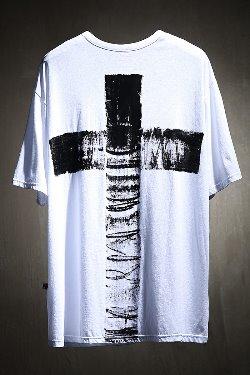 ByTheRByTheR Custom Cross Painting U Neck Short Sleeve Tee
