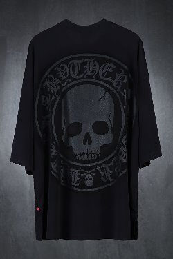 ByTheRByTheR Cool Span Lecture Skull Logo Printing Short Sleeve Tee