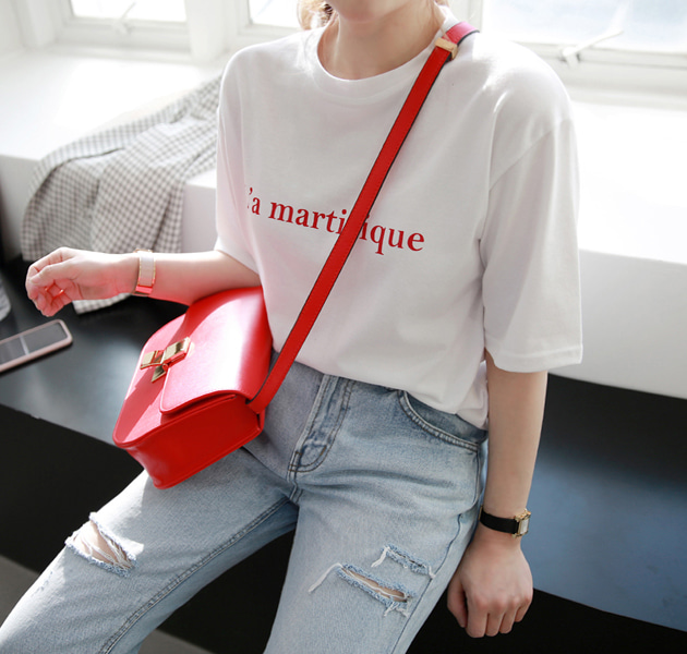 Lettering Print Round Neck T-Shirt
