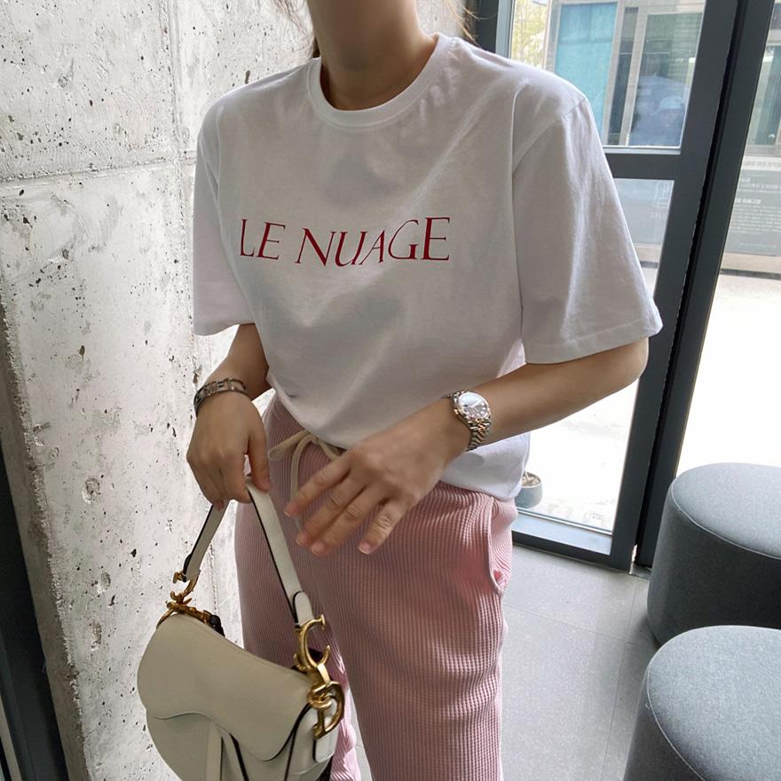 コットン半袖レタードTシャツ