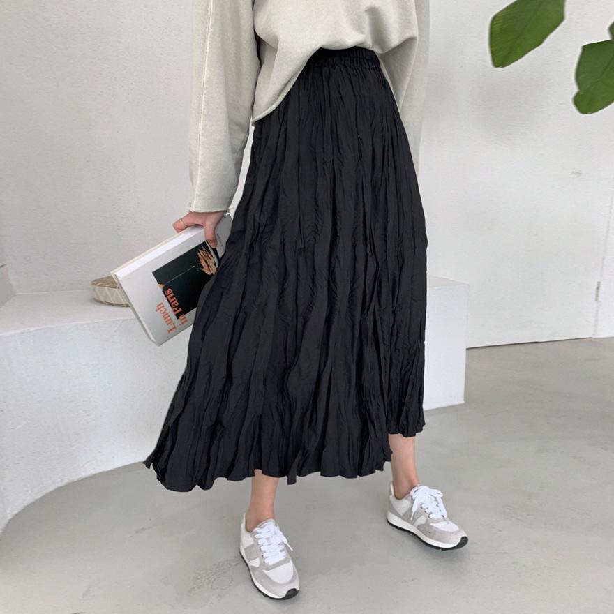 松紧腰褶皱长款纯色半身裙
