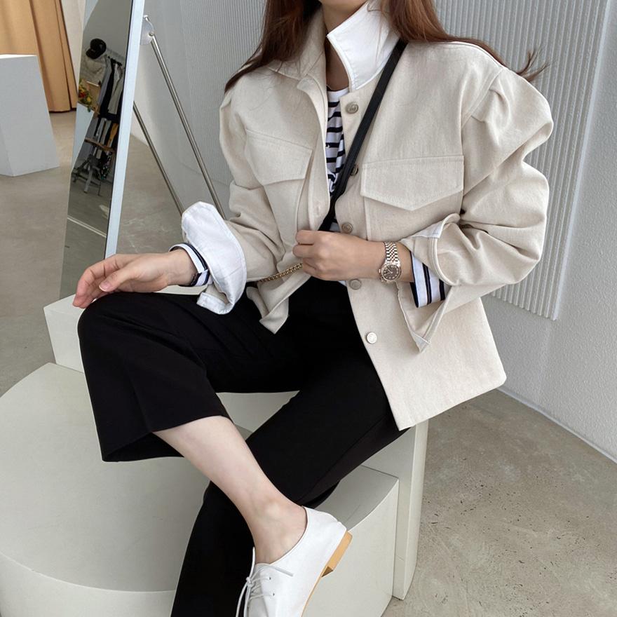 泡泡袖纯棉排扣夹克