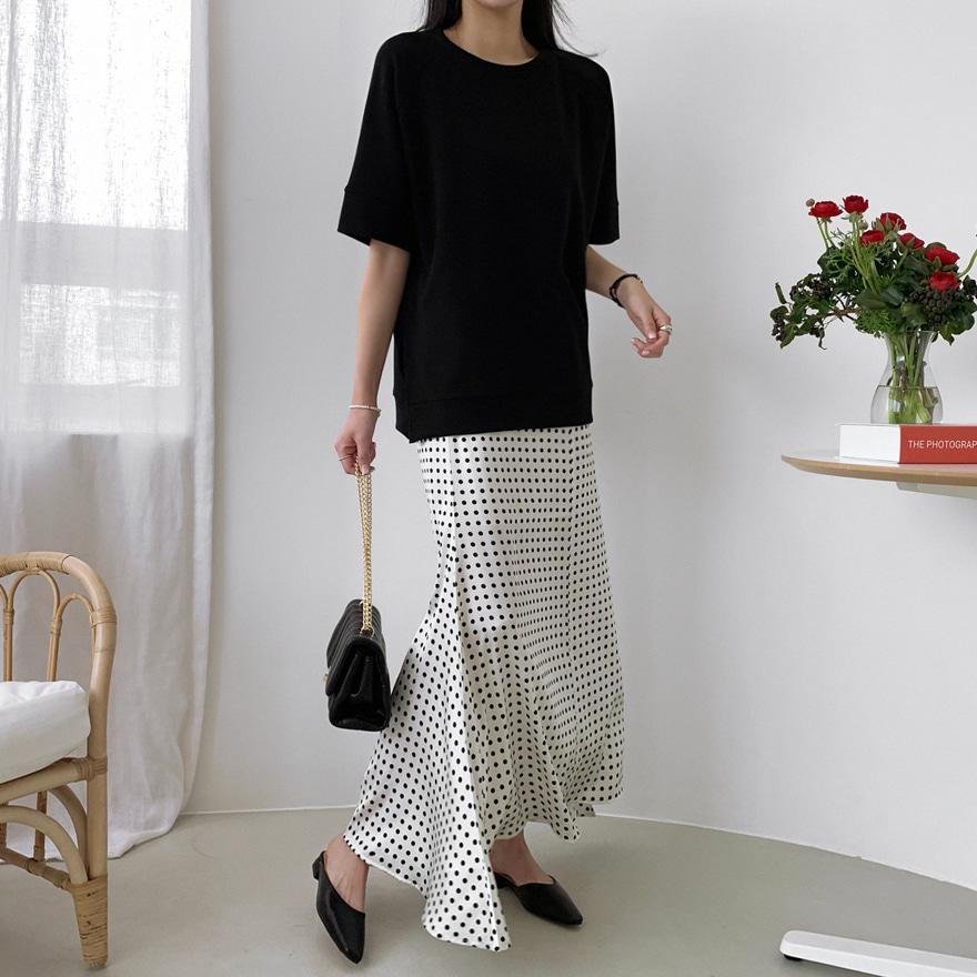 Asymmetrical Hem Polka Dot Skirt