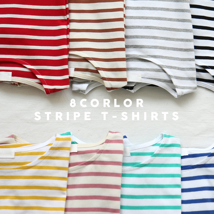 Round Neck Striped Boxy T-Shirt