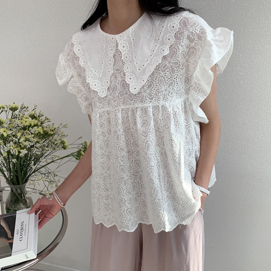 Collared Eyelet Lace Blouse