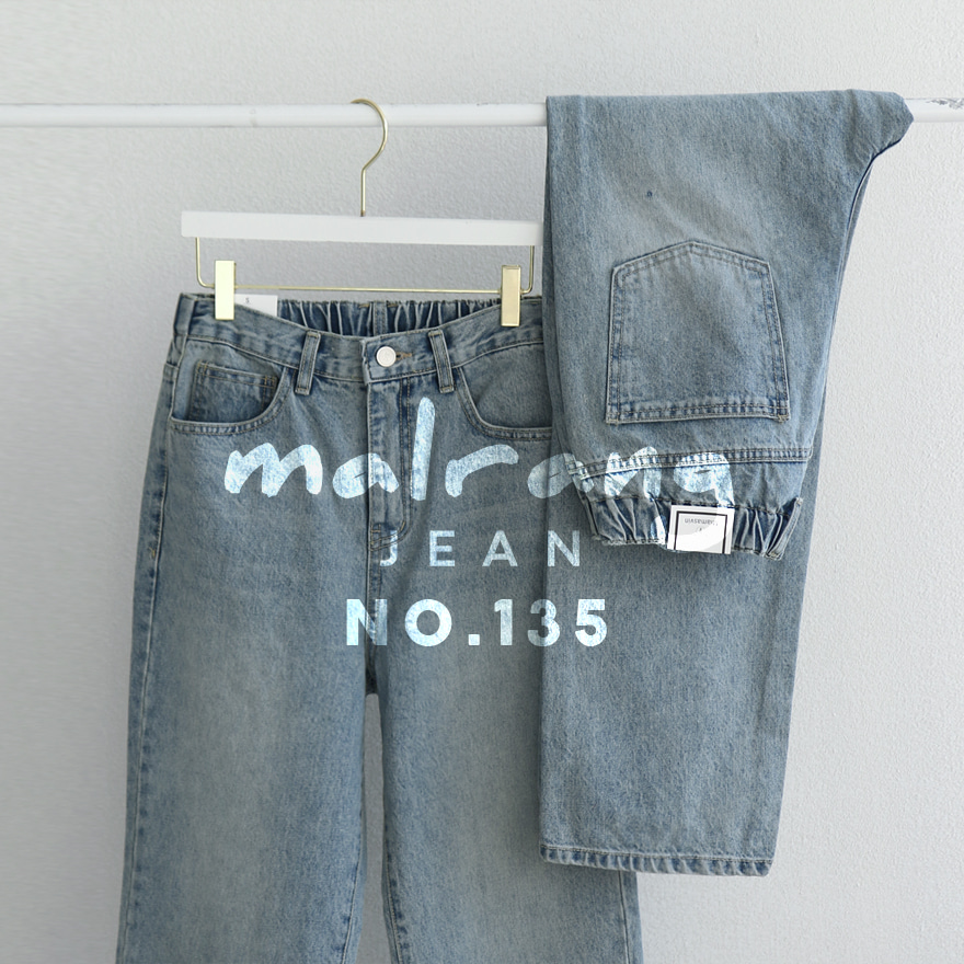 Semi-Elastic Waist Faded Blue Jeans