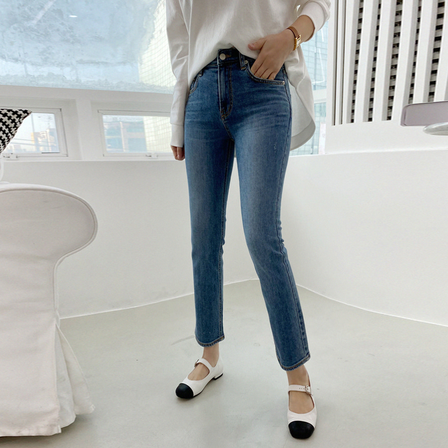Whiskered Crop Blue Jeans