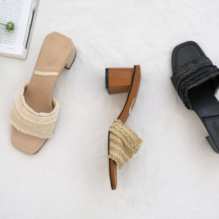 Fringed Upper Block Heel Mules