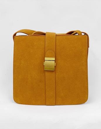 스웨이드 스퀘어 옐로우 숄더 가방 (새상품)