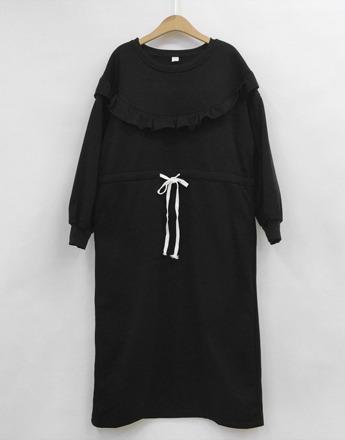 프릴 쭈리 블랙 원피스(새상품)