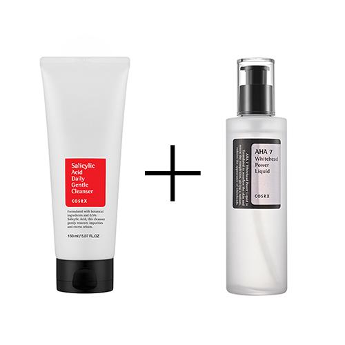 COSRX Salicylic Acid Daily Gentle Cleanser 150ml + AHA 7 WHITEHEAD POWER LIQUID 100ml