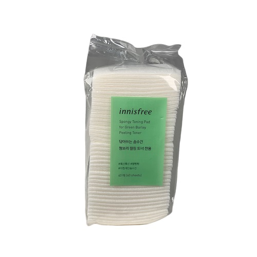 innisfree Spongy Toning Pad for Green Barley Peeling Toner 40ea