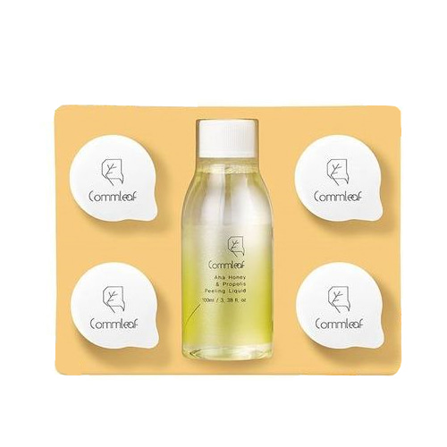 Commleaf AHA Honey & Propolis Peeling Liquid Set (with 4 coin mask sheet)