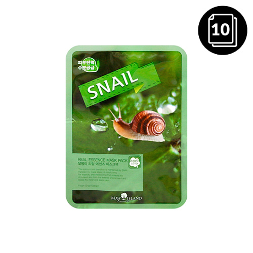 MAY ISLAND Snail Real Essence Mask Pack 10ea