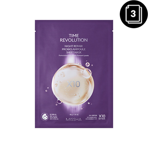 MISSHA Time Revolution Night Repair Probio Ampoule Sheet Mask 3ea
