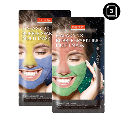 PUREDERM Galaxy 2X Bubble Sparkling Multi Mask 3ea