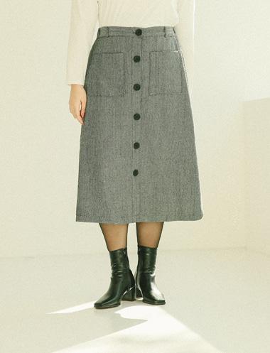 ヘリンボーンボタンAラインスカート