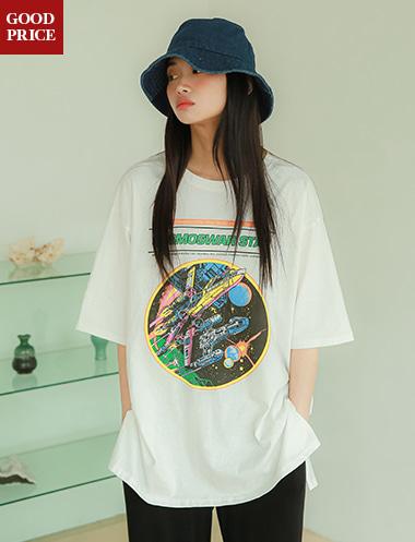 크로슈 우주 프린팅 티셔츠TS5222