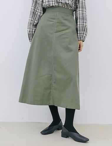 ステッチディテールロングスカート