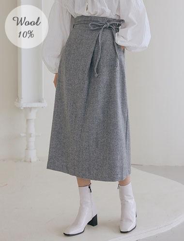 ヘリンボーンウールスカート